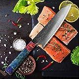 Salmón Cuchilla del Cuchillo del Cocinero Acero de Damasco V10 Nakiri Cuchillo Eco solidificada Madera Cocina rebanadora de la Carne Santoku RU