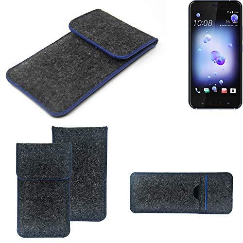 K-S-Trade Filz Schutz Hülle Für HTC U11 Dual-SIM Schutzhülle Filztasche Pouch Tasche Hülle Sleeve Handyhülle Filzhülle Dunkelgrau, Blauer Rand