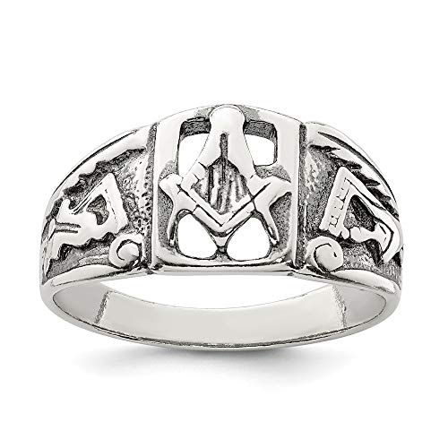 925 Sterling Silver Masonic Freemason Mason Band Ring Size 10.00 Man Fine Jewelry For Dad Mens Gifts For Him