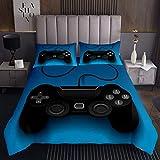 Gamepad Steppdecke Kinder Spieler Tagesdecke Für Jungen Jugend Moderner Videospiel Controller Bettüberwurf 170x210cm Schwarz Blau Gaming Wohndecke