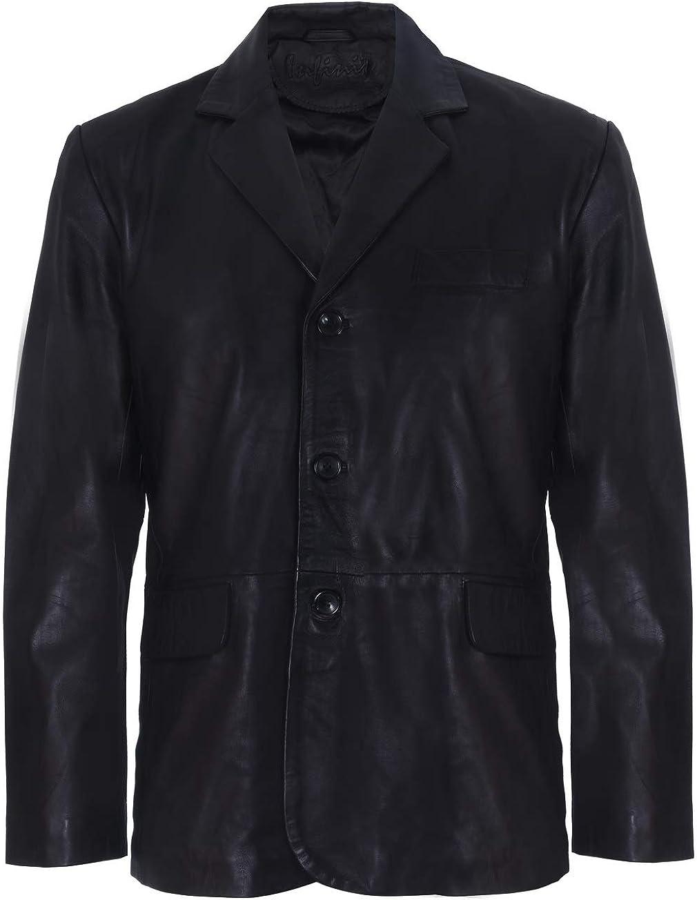Men's Smart Black Tailored Fit 3 Button Single Breasted Blazer Jacket