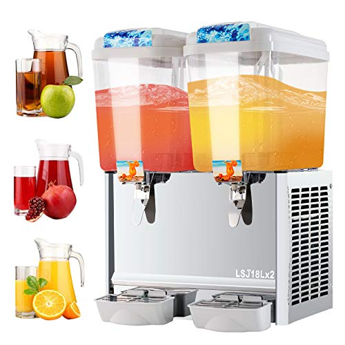 SUNCOO Commercial Juice Dispenser 9.5 Gallon Cold Beverage Drink Dispenser Machine for Restaurant and Party Temperature Control, 4.75 Gallon Per Tank, 2 Tank with Spigot