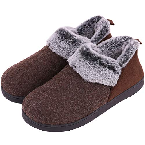 VeraCosy Ladies' Wool-Like Fleece Clog Slippers, Comfort Memory Foam Anti-Slip House Shoes Coffee , 5 UK Coffee