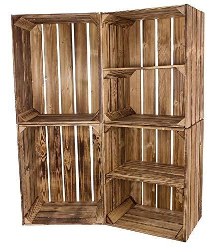 geflammte Vinterior Weinkiste 2X Kisten mit Mittelbrett 2X Standard 50x40x30cm Obstkisten Wandregal Holz Holzkiste Regal Apfelkiste Vintage