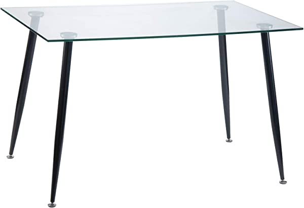 Harper Bright Designs Dining Table With Solid Metal Leg And Clear Glass Top