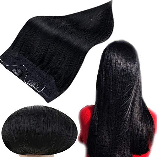 Runature Crown Hair Extensions 18 Inches 613 Bleach Blonde Invisible Wire 80g Human Hair Extensions Invisible Wire Hairpiece Halo Hair Extensions