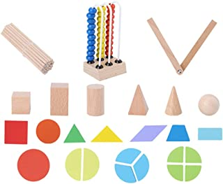 Wooden Geometric Solids,Arithmetic frame,clock cognition Multifunctional learning box Montessori Mathematics teaching aids