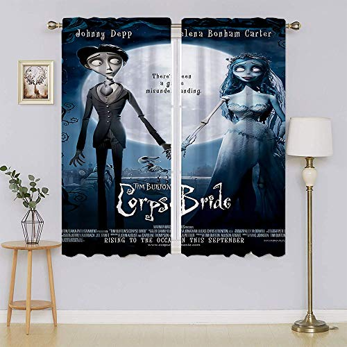 The Nightmare Before Christmas Jack Skellington Sally Blackout Curtains,Heat and Full Light Blocking Drapes Keep Warm Draperies Drapes for Bedroom W42' x L54'