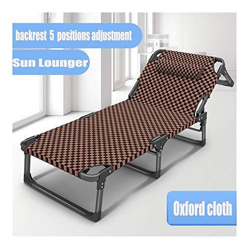 Brown Métal Bain de soleil, pliant portable cabine de bronzage, 190 * 68 * 38cm, 200 kg max.5 Réglage de la position du dossier Chaise de jardin for la plage Piscine extérieure Patio Camping c2007