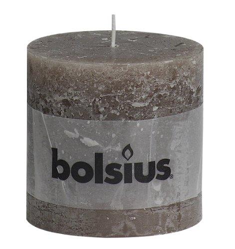 BOLSIUS RUSTIC Stumpenkerze 100 x 100 mm taupe