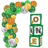 First Birthday Balloon Box Decorations Jungle Safari 1st Birthday Boxes Blocks Decor for Baby Boys Girls Birthday Party Supplies Milestone Cake Smash Photo Props Backdrop