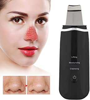 Ultrasonic Vibration Skin Scrubber Electric Deep Cleansing Spatula Blackhead Grease Removal Tool Blackhead Extractor Device Face Skin Care(Black)