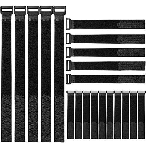 FULARR 20Pcs Nylon Fascette Kit, Riutilizzabile Fascette Fermacavi & Cavi Fascette, Hook e Loop Cavi Cinghia, Cavi Organizzatore Fastener, 3 Diverse Dimensioni –– Nero