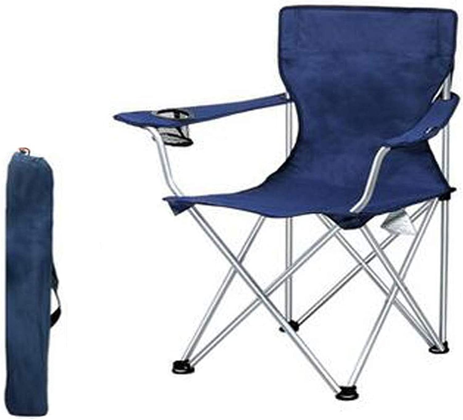 Folding Chair, Camping Chair Folding Portable Four-Corner Mesh with Cup Holder Pocket and Hard Armrest, Support 100KG, bluee Concise