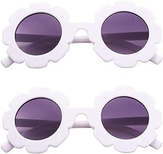 TENDYCOCO - TENDYCOCO Gafas de Sol para Niños Gafas de Fiesta de Girasol de Resina Anti-UV Visten Gafas para Niños (Blanco + Púrpura)