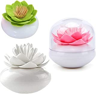HomDSim 3 PACK Lotus Cotton Swab Holder,Cotton Bud Small Q-tips Toothpicks Brushes Holder Box Case Storage Organizer Jar with Clear Lid Dustproof Cover Green Pink White