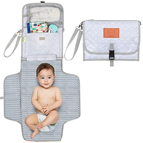 Baby Diaper Changing Pad - Portable Waterproof Diaper Changing Mat - Folding Diaper Changing Station - Travel Diaper Change Pads - Changing Clutch - Detachable Stroller Hooks (Gray Mod)