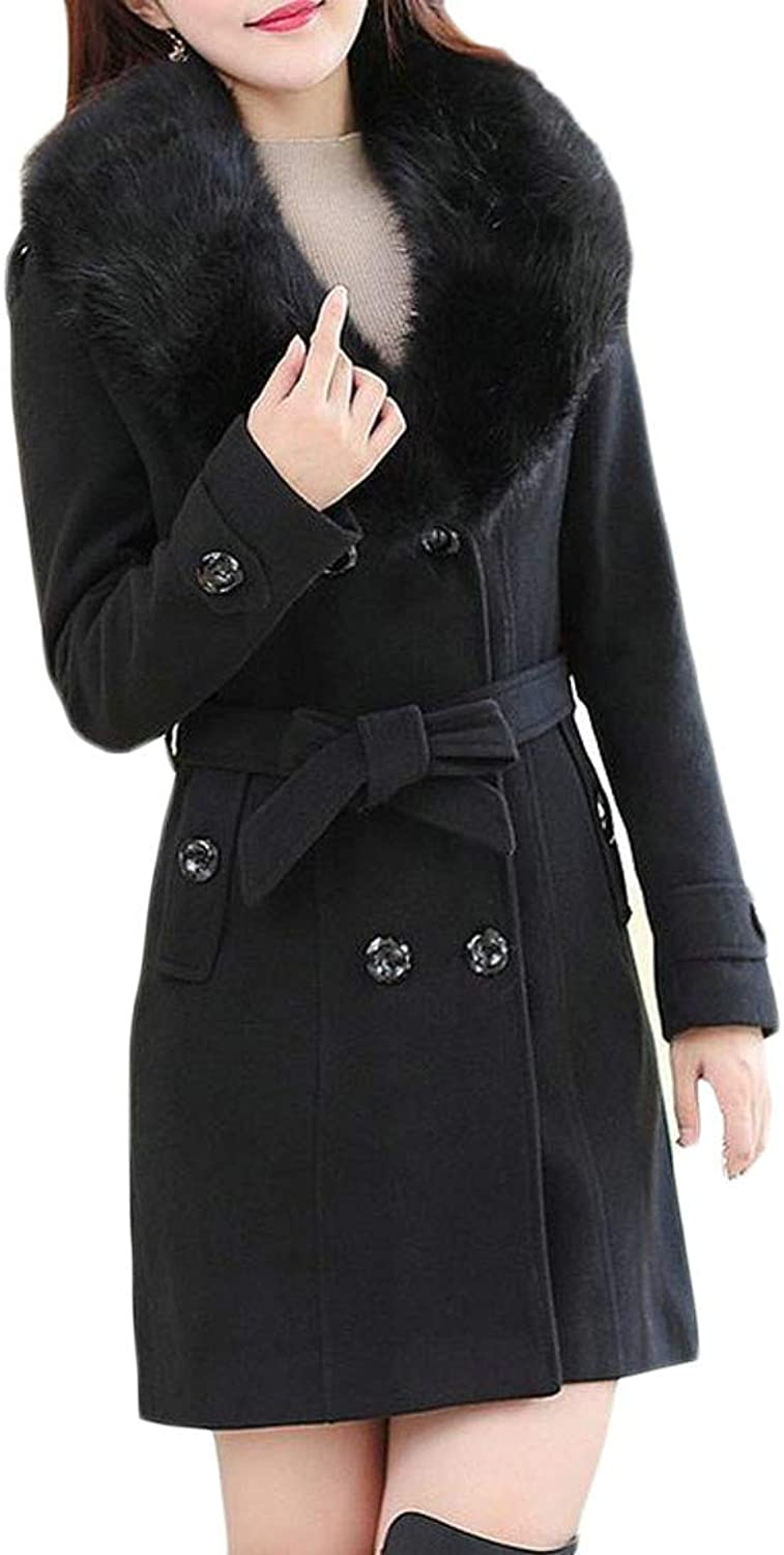 Cromoncent Women Autumn Faux Fur Collar Double Breasted Woolen Outwear Trench Coat