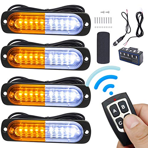 Led Warning Lights, 4pcs Emergency Warning Caution Hazard Construction Ultra Slim Sync Feature Car Truck with Main Control Box Surface Mount Update Remote Control (White Amber)