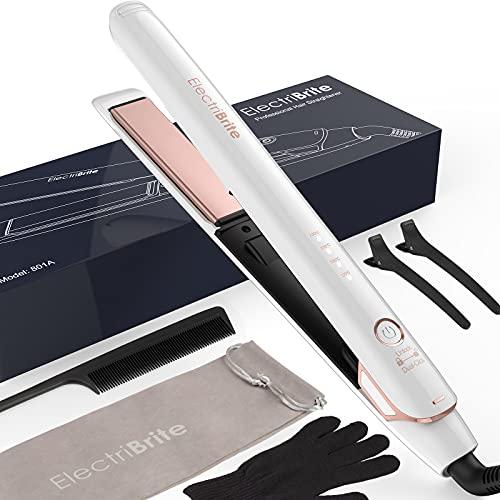 Glätteisen, Haarglätter Hair Straightener mit Hochwertigen 3D Schwimmenden Platten, 4 einstellbaren Temperatur, sofortiges Aufheizen und Dual-Spannung, geeignet für alle Haartypen, weiß…