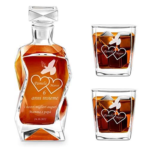 Murrano Set Decanter per Whisky in vetro - da 700 ml - incisione personalizzata - Caraffa con 2 bicchieri - idea regalo per l'anniversario - per la coppia di sposi o fidanzati - La colomba