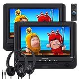 Pumpkin Lettore dvd portatile auto bambini poggiatesta doppio 9'' schermo con cuffie, circa 5 ore di durata, supporta usb/sd/mmc, regione free