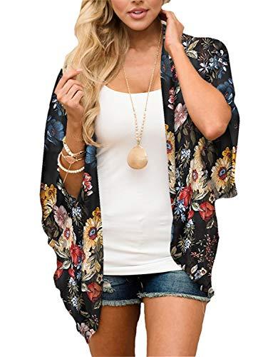 Women's Boho Beach Floral Kimono Cover Ups Tops Chiffon Sheer Summer Lightweight Cardigans Maternity Black X-Large