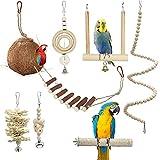 FAIHTS 7piezas de Juguetes para pájaros Loros, Jaula para pájaros de Coco Natural de tamaño pequeño y Mediano con Escalera, Hamaca para Escalar Columpios, para pájaros, periquitos, guacamayos