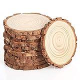 Pllieay 12 piezas de 13-14 CM rodajas de madera, sin terminar, círculos de madera natural para manualidades, decoraciones de boda, artes y rodajas de madera