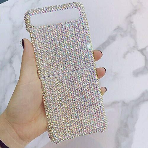 Hikaka Bling Glitter Luxury Diamond Hard Phone Hülle für Samsung Galaxy Z Flip 4G/5G, Glitter Shell Hülle für Z Flip Handyhülle, Bling Custom Design Shock Protective Cover