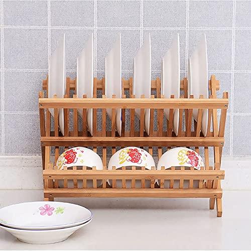 PIAOCHONG Staż naczynia, bambusowy składany 2-poziomowy stojak na danie do suszenia naczynia z naczyniami Uchwyt Uchwyt Naczynia