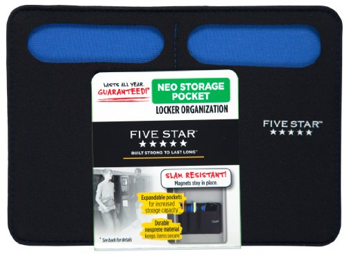 Five Star Magnetic Storage Pocket, Neoprene, Black/Blue (72250)