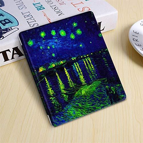 Capa para Kindle Oasis 2019-2021 (aparelho com temperatura de luz ajustável) - Noite Estrelada Sobre o Ródano (van Gogh)
