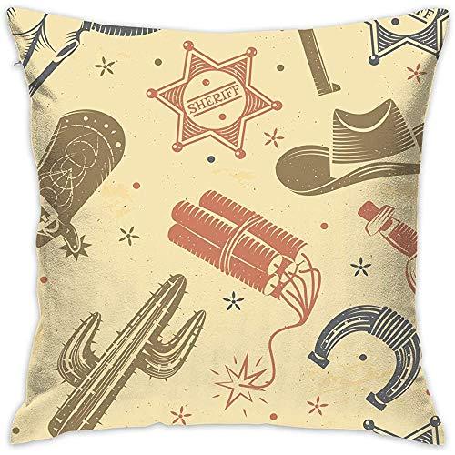 July Kussensloop Cowboy Cactus Seamless patroon kussenslopen kussenslopen voor bank slaapkamer auto stoel