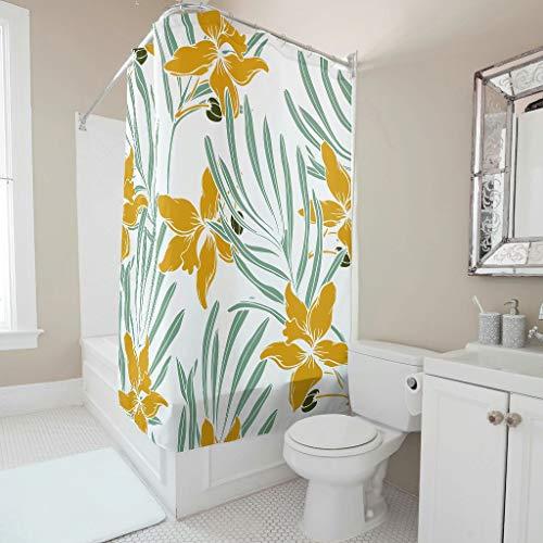 Gamoii Duschvorhang Bad Vorhänge Gelbe Blumen Grün Blatt Anlage Personalisiert Schlafsaal Vorhang Badezimmer Decor Duschvorhänge mit Duschvorhangringe White 120x200cm