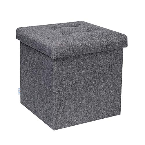 Bonlife Cube Folding Ottoman Storage Boxes with Lids,Small Footstool Storage Trunks Toy Grey Box for Living Room 32 X 32 X 32cm(belike 12.6 inches)