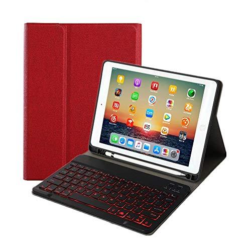 """Nova capa de teclado para iPad 10,2 polegadas, teclado destacável retroiluminado de 7 cores com suporte de lápis capa fina para iPad 7ª geração 10,2"""" 2019, Wine Red+Black Keyboard, iPad 10.2 inch"""