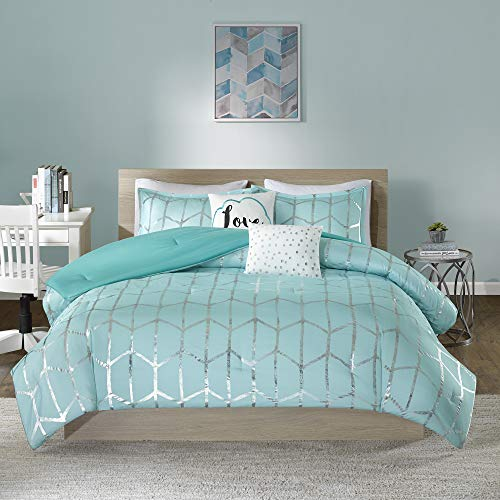 Intelligent Design Raina Comforter Microfiber Metallic Print Geometric Design Embroidered Toss Pillow Modern Trendy Casual All Season Bedding Set Matching Sham, Full/Queen, Aqua/Silver 5 Piece