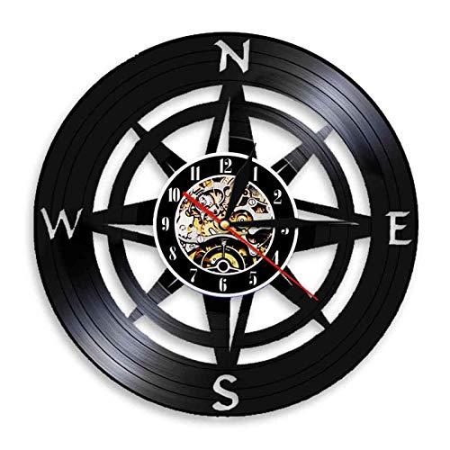 TANCEQI Wanduhr Aus Vinyl Schallplattenuhr Upcycling LED Zwölf Sternbilder Kompass Dekoration 3D Design-Uhr Wohnzimmer Schlafzimmer Wand-Deko Schwarz Ø: 30 cm,C