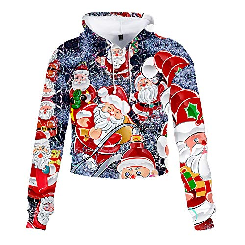 Discover Bargain RUIVE Girls Christmas Short Sweatshirt Colourful Xmas Santa Claus Print Blouse Spor...