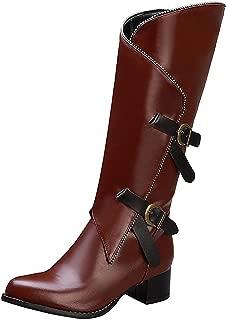 ELEEMEE Women Classic Block Heel Mid Calf Engineer Boots Zip