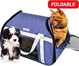 Dreamy Pup Premium Airline Approved Soft-Sided Under Seat Pet Carrier - Best for Small Dogs Cats Foldable - TSA Pets Carrier Bag - in-Cabin Mesh Air Travel Carriers (Blue)