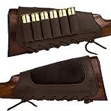 BRONZEDOG Leather Cartridge Buttstock Shotgun Shell Holder Hunting Buttstock Ammo Holder Pouch Bag for Rifles Shotgun Shell Pouch Shell Holder Stock .300 .30-06 .308 Cal (Brown)
