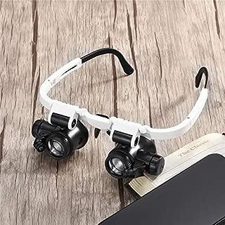 Bestchoice - 23X Adjustable LED Binocular Magnifier Double Eye Glasses Loupe Lens Jeweler Watch Repair Measurement Kit