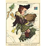 Lancaster 1869 Pictorial Map Scotland Piper Fun Extra Large