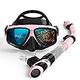 ZXIAQI Máscara De Buceo Scuba Set Anti Niebla Gafas con Snorkel Gafas Tubo Correa Ajustable para Mujeres Hombres Natación para Adultos Máscara,Pink and Black