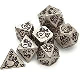Tbrand 7pcs Metal Dice Set D&D, Unique New Dragon Pattern DND Metal Dice Set, Used for Dungeon and Dragon Dice Games,Comes with Black Velvet Bag