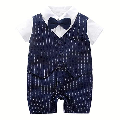 子供服 男の子 スーツ フォーマル ロンパース 赤ちゃん 紳士風 キッズ 出産祝い 結婚式 誕生日 お宮参り 夏 半袖 (59, 紺色)