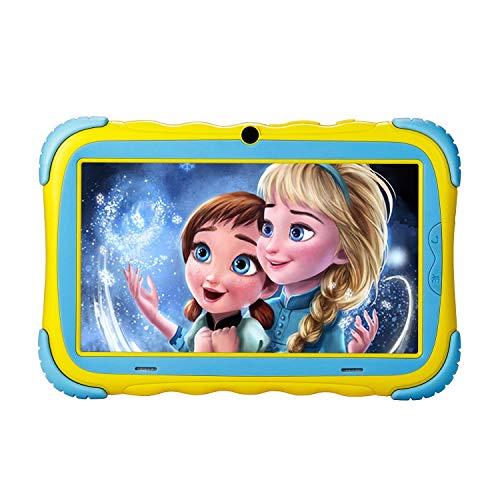 "iRULU Tablet per Bambini, Tablet 7"" per Bambini, Tablet educativo per Bambini, 1 GB + 16 GB, Touchscreen IPS, WiFi, Bluetooth & Google Play, Doppia Fotocamera per Bambini Giallo…"