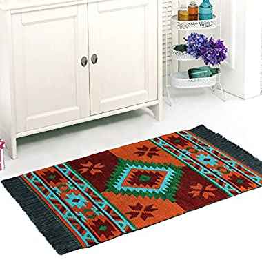 Traditional Area Rug, 2x4 feet, 100% Velvet Cotton, Perfect for Kitchen, Bathroom, Study Room, Living Room, Porch, Corridor,  (Green-Orange-Turquoise)